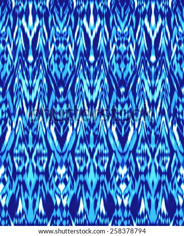 modern blue ikat ~ seamless background - stock photo