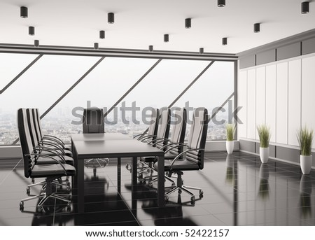 Modern boardroom interior 3d render - stock photo
