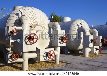 Modern boiler room equipment for heating system. - stock photo