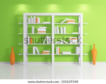Modern bookshelf.Isolated on white background.3d rendered. - stock photo