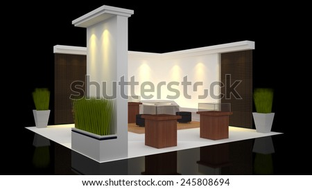 modern booth exhibition design with blank banner - stock photo