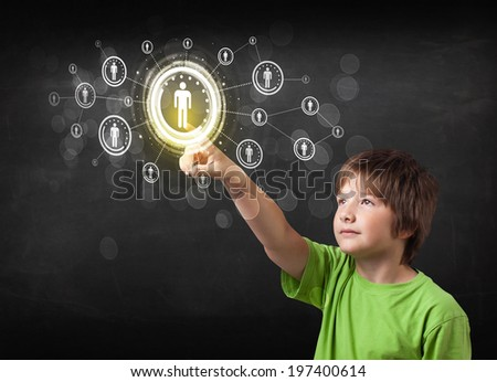 Modern boy touching future technology social network button - stock photo