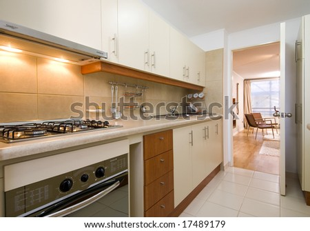 modern brand new house kitchen - stock photo
