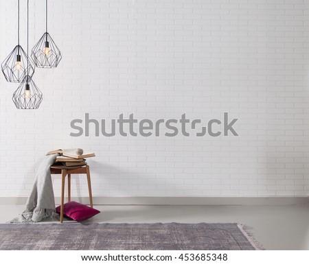 modern brick wall interior decor and sign