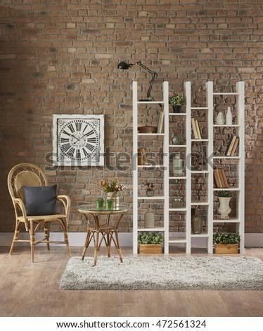 Modern Brick Walls And Beautiful Living Room Library