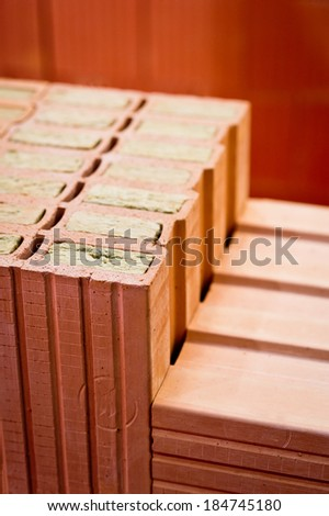 Modern bricks with mineral wool insulation - stock photo