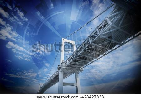 modern bridge and wireless sensor network, abstract image visual - stock photo