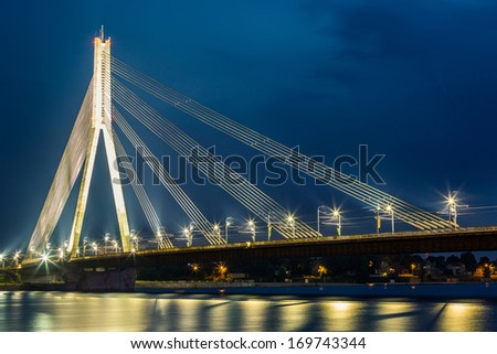 Modern Bridge in Riga at Night - stock photo