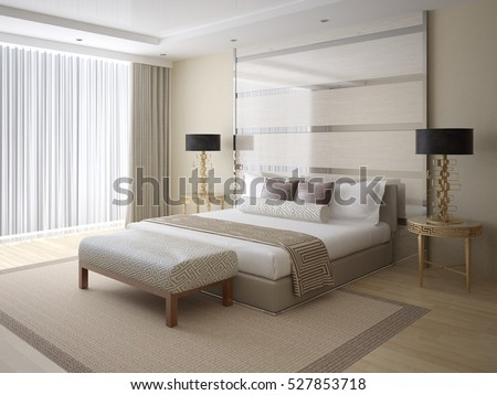 Modern bright and spacious bedroom with stylish rear background, and comfortable bed 3d rendering.