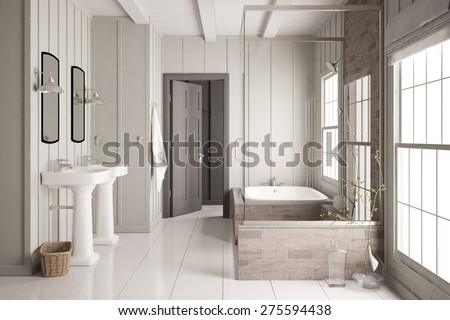 Modern bright bath with bathtub and shower and two sinks (3D Rendering) - stock photo