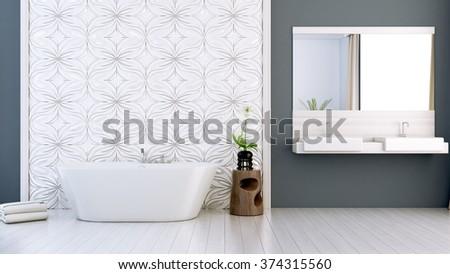 modern bright bathroom 3D render - stock photo