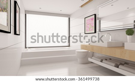 Modern bright bathroom with bathtub and sink (3D Rendering) - stock photo