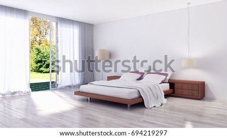 Modern bright bed room, interiors. 3D rendering