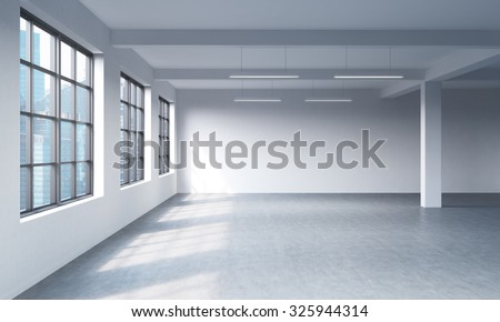 Modern bright clean interior of a loft style open space. Huge windows and white walls. Singapore panoramic city view. 3D rendering. - stock photo