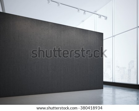 Modern bright gallery with black wall and spotlights. 3d rendering - stock photo