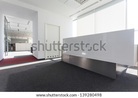 Modern bright hall in a new office centre - stock photo