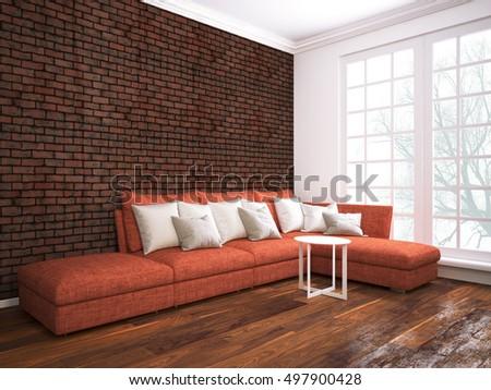 Modern Vintage Interior Living Room Brown Stock