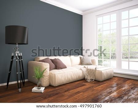Modern Living Room Green Pillows On Stock Photo 561933142