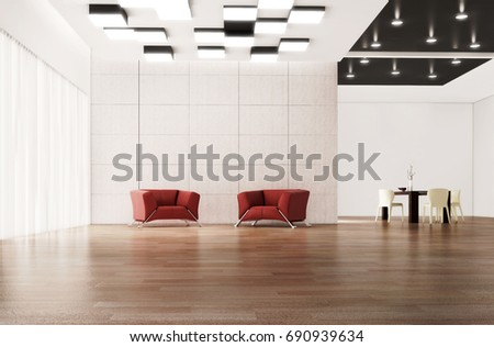 Modern bright living room, interiors. 3D rendering