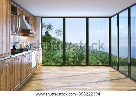 Modern bright wooden kitchen in villa on ocean island . 3D render - stock photo