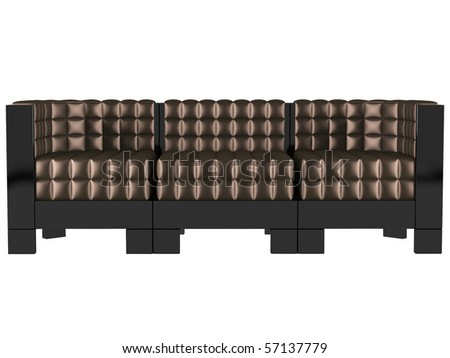 Modern brown sofa isolated on white background, 3D illustrations - stock photo