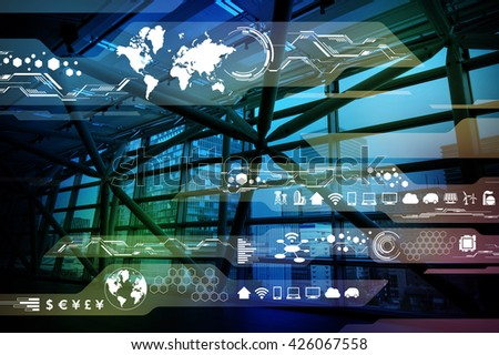 modern building and technological interface, abstract image visual