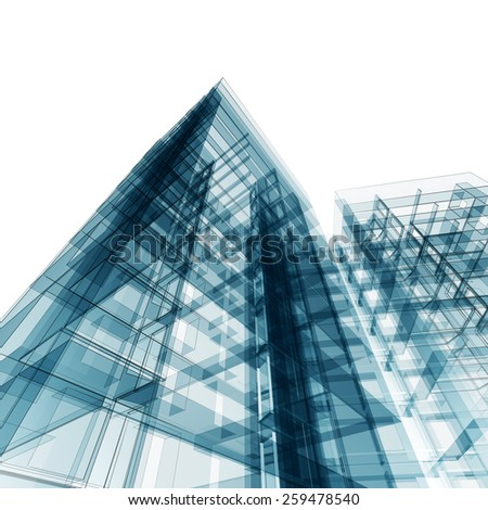 Modern building. Architecture design and model my own - stock photo