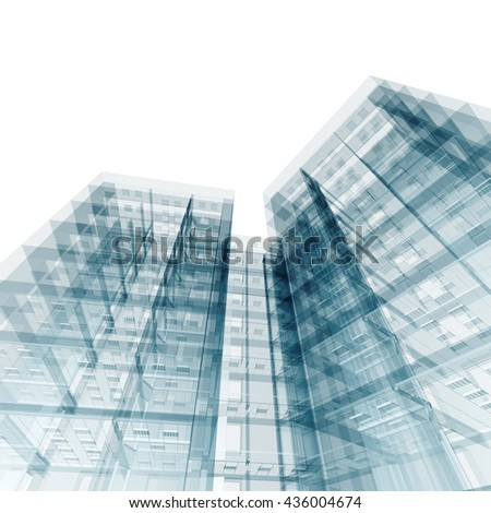 Modern building. Architecture design and model my own. 3D rendering - stock photo