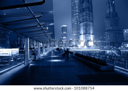 modern building at night in shanghai  china - stock photo