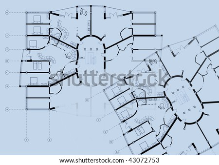 Modern Building CAD Architectural Apartment Plan Blueprint Drawing on blue background