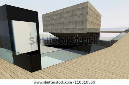 Modern building downtown, futuristic architecture. - stock photo