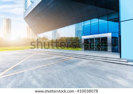 modern building entrance background,shanghai china. - stock photo