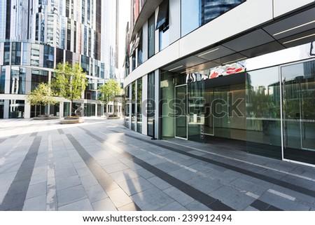 modern building facade in urban city - stock photo