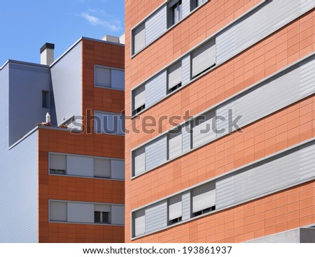 Modern building facade with ceramic coating. Horizontal