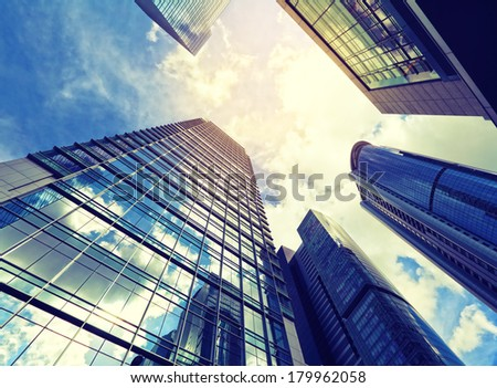 Modern building from low angle view - stock photo