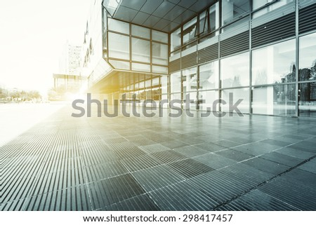 modern building glass wall and empty path