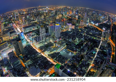 Modern building in the business landscape. Top view of Bangkok During at dusk - stock photo