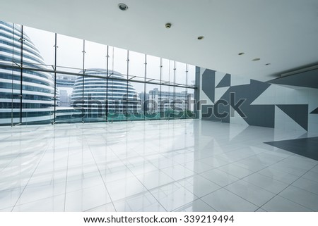 modern building interior and view of building through window