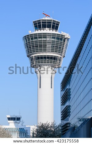 Modern building of air traffic control local tower in Munich international passenger and cargo hub airport - stock photo