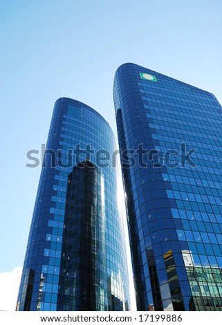 modern building on a background of blue sky - stock photo