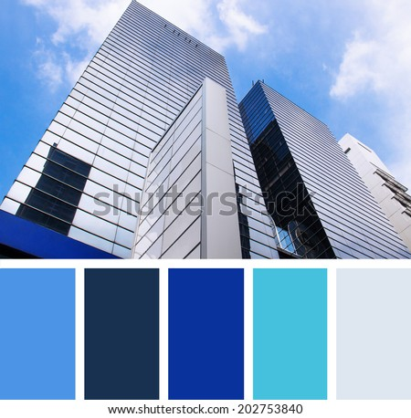 modern building on a background sky.  color palette swatches.  - stock photo