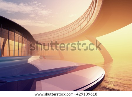 Modern building on a background sky ,3d render - stock photo