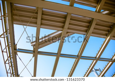 modern building roof under blue sky