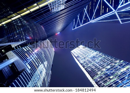 Modern building to sky at night - stock photo