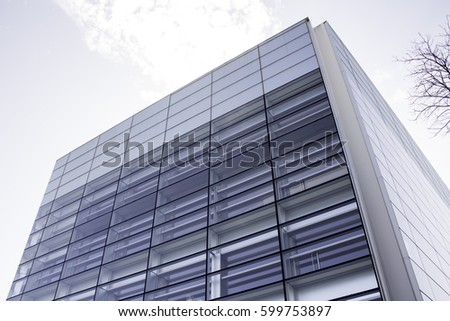 Modern building with crystals in city, construction and architecture