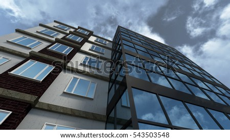 Modern building with reflective glass 3D rendering