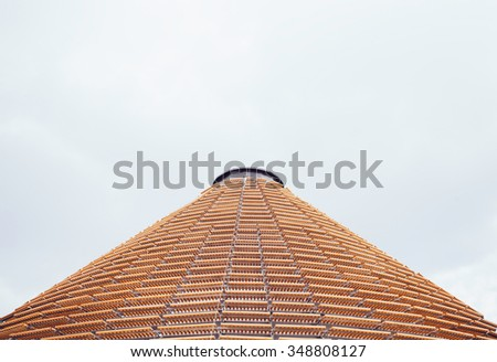 Modern building with wooden roof