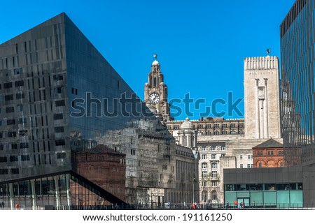 Modern buildings at Mann Island Liverpool with the Liver building  and New Mersey Tunnel buildings in the background. - stock photo