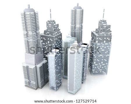 Modern buildings forming a city. 3D rendered Illustration. - stock photo