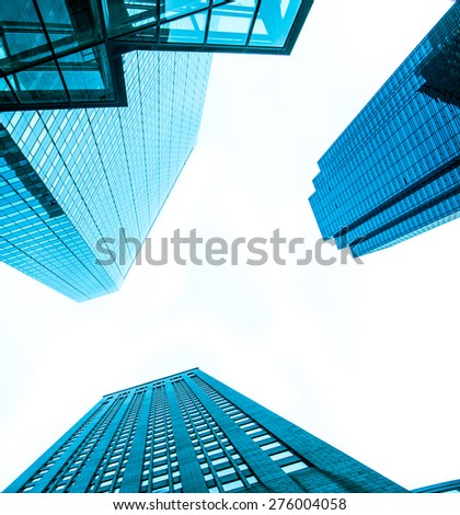 Modern buildings. High contrast. Blue monochrome. Urban living, architecture, technology, abstract and business concept - stock photo